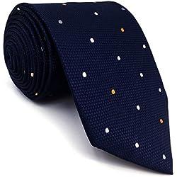 shlax&wing Puntos Azul Navy Corbatas Para Hombre Traje de negocios Seda Puntos 147cm