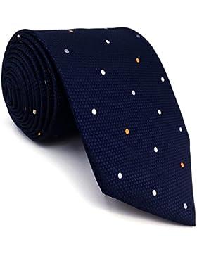 shlax&wing Puntos Azul Navy Corbatas Para Hombre Set Traje de negocios Seda Puntos Extra Largo 57.5