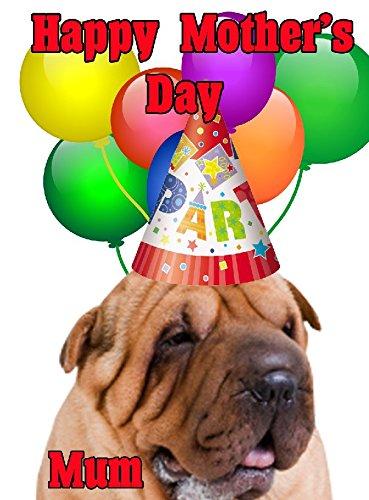Sharpei Hund Happy Mother 's Day Party Hat Karte chmd270personalisierbar Grüße
