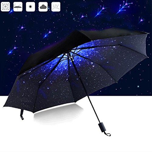 Camtoa ombrello, 50+ anti vento anti-uv pioggia/sole ombrello,cielo stellato pieghevole creativo compatto e leggero parasol telescopica ombrello per viaggio outdoor