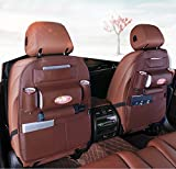 #7: HOME CUBE® High Quality PU Leather Auto SUV Car Seat Back Organizer For Tissue Phone iPad Umbrella Cup Keys Holder Travel Storage Bags Multi-Pocket = Brown Color