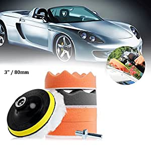 auto polierschwamm polierset 7pcs 80mm polierpad set. Black Bedroom Furniture Sets. Home Design Ideas