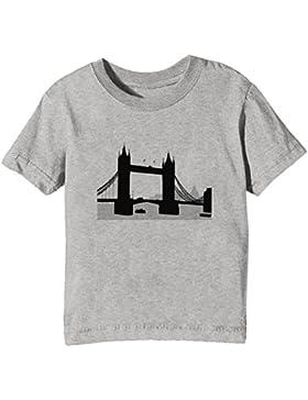 Londres Torre Puente Niños Unisexo Niño Niña Camiseta Cuello Redondo Gris Manga Corta Todos Los Tamaños Kids Unisex...