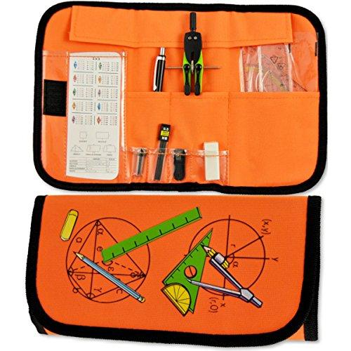 12-tlg. Zirkel- und Mathematik-Set im praktischen Etui mit Klettverschluss (orange) -