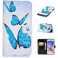 funda Samsung Galaxy S6 funda billetera ranura de tarjeta de crédito caracteristicas cuero de la PU magnético apagado función de stent dibujos animados en 3D patrón diseño estuche protector case cover DECHYI Mariposa azul