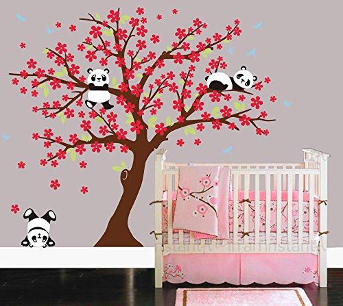 Sayala 3 Panda Wandtattoo-Wandsticker mit Floralem-Pfirsich Sakura Blumen Baum Wandbild für...
