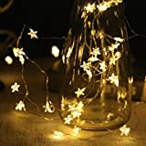 String Lights 40 Warm White LED Stars Fairy Lights 6M for Christmas Halloween Party Home Bedroom Decoration