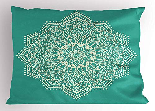 Ejjheadband Mandala Pillow Sham, Eastern Microcosm Chart with Floral Center Point Space Kitsch Yantra Yoga Image, Decorative Standard Queen Size Printed Pillowcase, 30 X 20 inches, Teal Beige