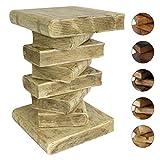 Bücherhocker Nachttisch Beistelltisch Hocker Buch Stapel Podest Deko ca. 50 cm Holz Creme W/W