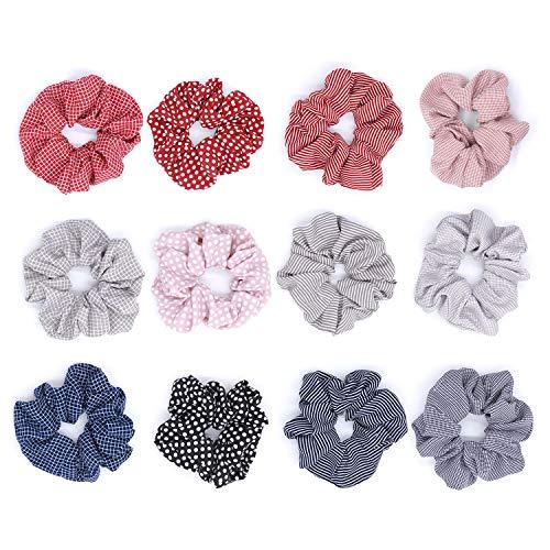Haargummis Mädchen - 12 Stück Gummiband Elastische Haarbänder, 4 Stil Pferdeschwanz-Halter Zubehör für Frauen mit 10 Elastische Haargummis Kostenlos (Pack Halter 12)