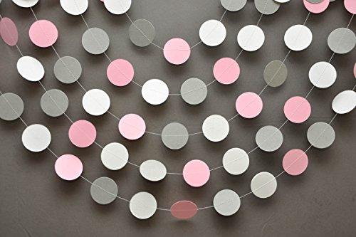 Rosa, graue & weiße Papier-Girlande-pink-grau-weißes Deko-Banner für Kinderzimmer - Deko-Banner für Mädchen, Geburtstag, Hochzeit