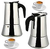 niboline Espressokocher Edelstahl Espressobereiter Mokkakocher für 9 Tassen Espressomaschine für Gas- oder Elektroherd Platte