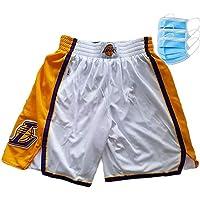 EWDS Lakers Youth 12~40 Swingman Performance Shorts, Shorts para Correr de Secado rápido para Hombres, Shorts Deportivos para Entrenamiento y Exteriores, Bolsillo con Cremallera