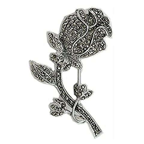 Blossoming Rose Flower Sterling Silver Marcasite Brooch Pin/Clip - Vintage Style Brooch Jewellery
