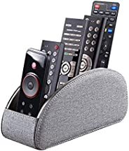BLIENCE Leather Remote Control Holder,armchair TV Remote Caddy for Table ,5 Compartments,Office Supplies Desk