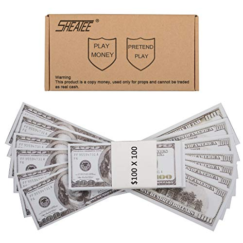 Prop Money Dollar 10 000 $ Full Print Nouvelle copie de style 100 dollars.for Money Gun,Cash Cannon,Publicité,Fake Money,Party,Spray en argent suprême,Déguisements,tours de magie, Jeux de casino