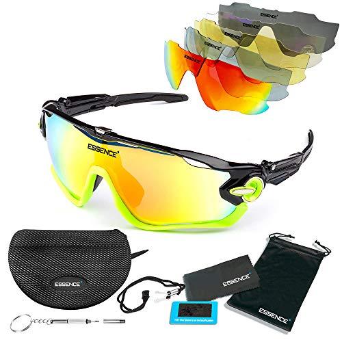 Essence polarisierte Sport-Sonnenbrille für Angeln, Radfahren, Laufen, Skifahren, Golf, Baseball, Unisex, UV400-Schutz, kommt mit Putztuch für Schutzhülle und wasserdichter Tasche, grün