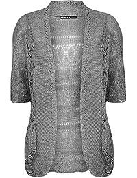 WearAll - Grande taille crochet tricoté bolero gilet top à manches courts - Hauts - Femmes - Tailles 48 à 54