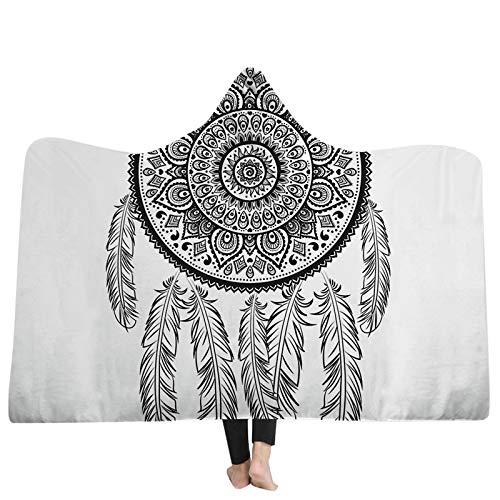 FGVBWE4R Decke Religiöse Muster 3D Kapuzen Decken Startseite Erwachsene Tragbare Mit Kapuze Decke Tragbare Warme 3D Decken-06,150x200 cm