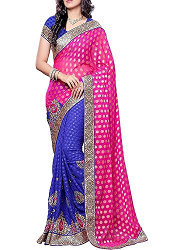 Indian E Fashion Embroidered Pink & Blue Half And Half Net Saree With Blouse Material For Party wear,Wedding,Casual sarees