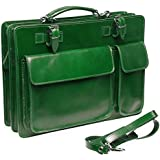 Bags4Less Leder Aktentasche Model: Mondial aus echtem Leder in Grün mit Nadelstreifen