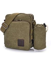 Outreo Borsa Tracolla Uomo Borse da Spalla di Tela Canvas Messenger Bag Vintage Sacchetto di Tablet Piccolo Borsello per Studenti Scuola Università Tasche Viaggio Outdoor Sport Tasca (Verde One)