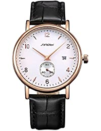 SINOBI Leather Strap Small Second Dial Date Quartz Mens Watch (Rose gold White)