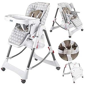 Kindersafety Hochstuhl Baby mit Liegefunktion – Baby Hochstuhl ab Geburt, Baby Essen Stuhl, Weiss-Graue,Einstellbare…