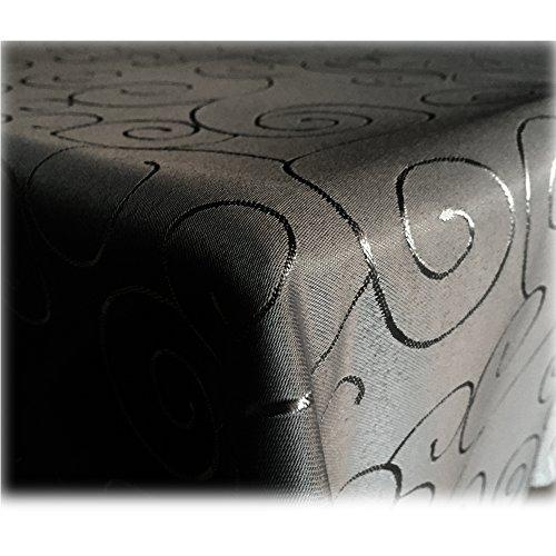 JEMIDI Tischdecke Ornamente Seidenglanz Edel Tisch Decke Tafeldecke 31 Größen und 7 Farben Schwarz Rund 135cm (Tisch Runde Schwarze Decken)