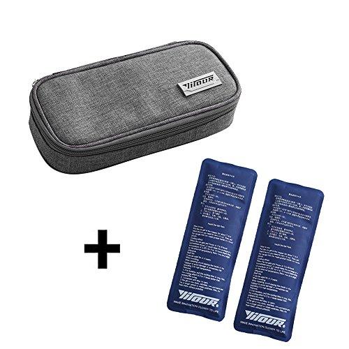 Insulin kühltasche, Cuitan Diabetikertasche Medikamente Diabetiker Tasche für Diabetikerzubehör mit Zwei Kühlakkus - Grau