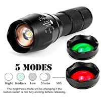 20000LM T6 LED Zoomable Flashlight SOMESUN 3 Colour Torch Hunt Light Super Bright