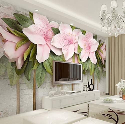 3D-Tapete mit Relief-Verzierung, Stereoskop, Blume, Rose, Blätter, Mauer, Wandfarbe, für Wohnzimmer (Hund Foto-verzierung)