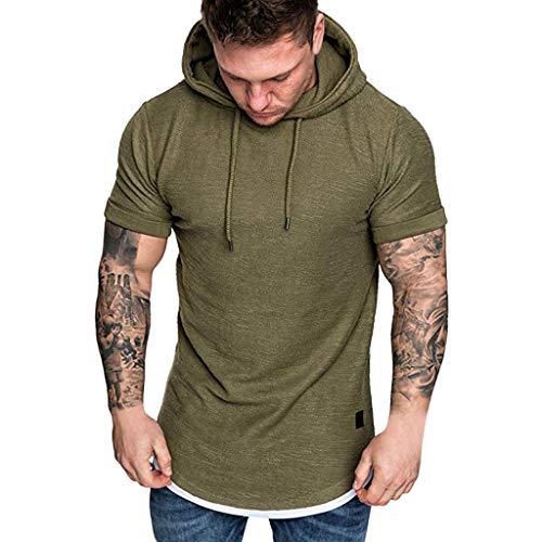 Shangqi Oversize T-Shirt Muscle Fit Slim Fit Fitness Herren Longshirt Herren Essential Solid Kurzarm Top Herren Pullover Kapuzenpullover Hoodie Sweatshirt