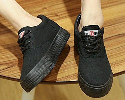 Aisun Femme Mode Couleur Unie Basse Sneakers Noir