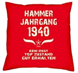 Soreso Design Geschenk-Set zum 77. Geburtstag : Hammer Jahrgang 1940 : Kissen & Urkunde Geschenkidee Geburtstagsgeschenk für Männer und Frauen inkl. Kissenfüllung Farbe:rot