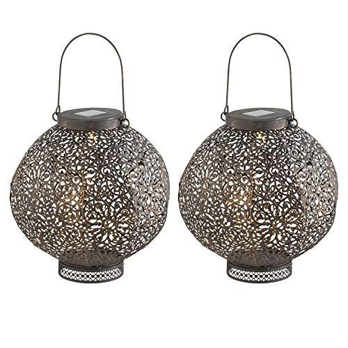 2er Set LED Solar Außen Hänge Lampen orientalisch Garten Kugel Steh Laterne rost