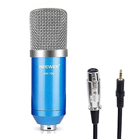 Neewer® Nw-700Lot de diffusion et d'enregistrement Micro à condensateur Studio Professionnel Y Compris: (1) Nw-700microphone à condensateur + (1) Ball-type anti-vent en mousse Cap + (1) microphone câble audio (Bleu)