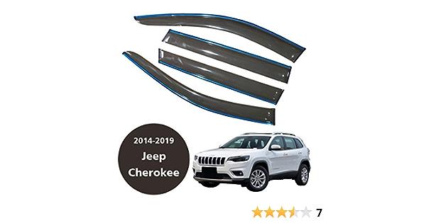 Cstern Acrylglas Premium Qualität Windabweiser Auto Regenabweiser Regenschutz Rauchgrau 4 Teilig Für Jeep Cherokee 2014 2019 Seitenscheiben Vorn Und Hinten Auto