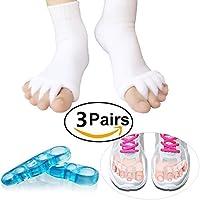 Preisvergleich für Zehentrenner Set–3Paar, Zehen Ausrichtung Socken, Gel Zehen Abstandhalter Zehen Spannrahmen, therapeutische...