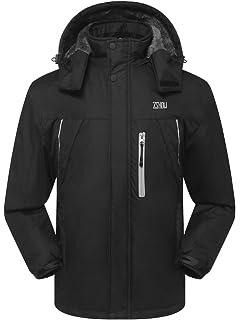 e63d7e6496e1 ZSHOW Homme Coupe-Vent Imperméable à Capuche avec Polaire Veste de Ski