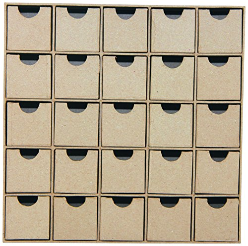 décopatch Mache Multi-Drawer/Advent Calendar, 5 x 25 x 25 cm, Brown