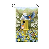 Dozili Gartenflagge Bluebirds Frühling Garten Haus Dekoration Wetterfest & doppelseitig Flagge, Polyester, bunt, 12.5