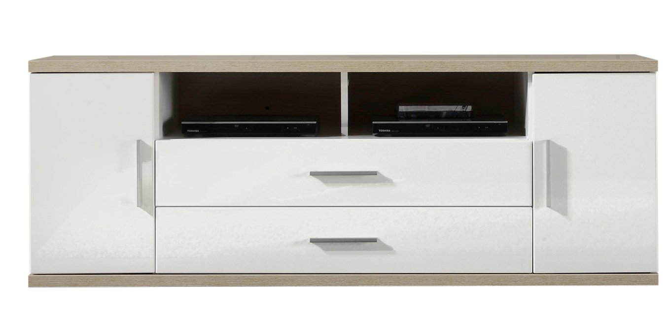 Furnline Living Room Tv Stand Low Board White Amazon Co Uk  # Meuble Tv Arena