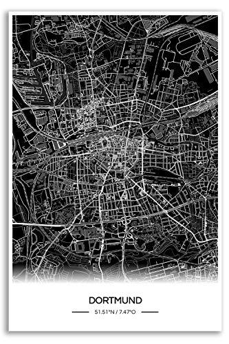 Zulumaps Poster Dortmund Stadtplan - Hochwertiger Kunstdruck 60x90cm, Farbe: Schwarz