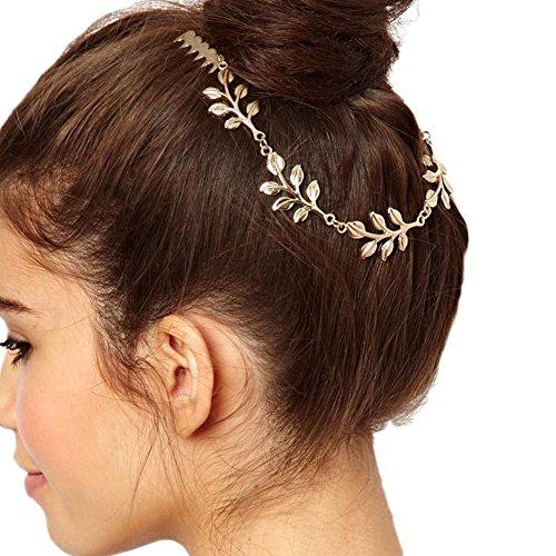 Daorier 1 Pcs Simple Elégant Barrette Pince à Cheveux Bandeau Motif de Feuille Dorée en Alliage Pour Femme (Style A)