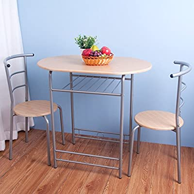 Life Carver Compact Dining Set Dining Table and 2 Chairs Set Beech Home Kitchen Dinning Room Furniture - cheap UK light store.