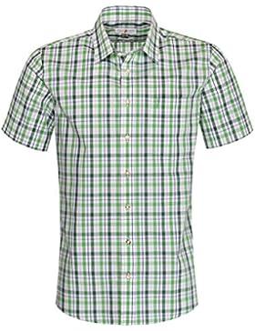 Almsach Kurzarm Trachtenhemd Friedrich Regular Fit zweifarbig in Hellgrün und Dunkelgrün inklusive Volksfestfinder