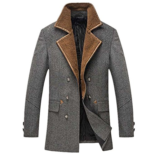 CRAVOG Wolljacke Herren Wollmantel Wollparka Warm Winter Jacke Mantel Parka Outwear Oberbekleidung Mode Trenchcoat Windjacke Windmantel Windparka Grau Kaffee (XL, Grau)