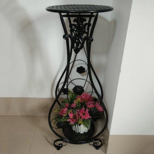 WSSF- Supports de pots Européenne Double Tier Fer Fleur Rack Intérieur Balcon Salon Vert Plantes Fleur Présentoir Simple Plancher Multi-couche Fleur Pot Étagère Couleur En Option, 28 * 20 * 68 cm ( Couleur : Noir )