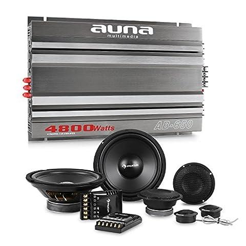 auna CS-Comp-8 Car-Hifi-Set 6-Kanal-Endstufe + Lautsprecher Set (2 x 1200 Watt Subwoofer, 2 x 1200 Watt Mitteltöner, 2 x 1,57